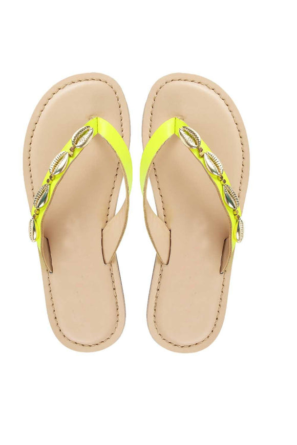 Seashell yellow sandals! Footwear for girls, Flip flop for girls, designer sandals for girls, belly shoes for girls, designer kolhapuri flats