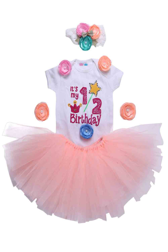 Peach Unicorn Half Birthday Tutu Outfit