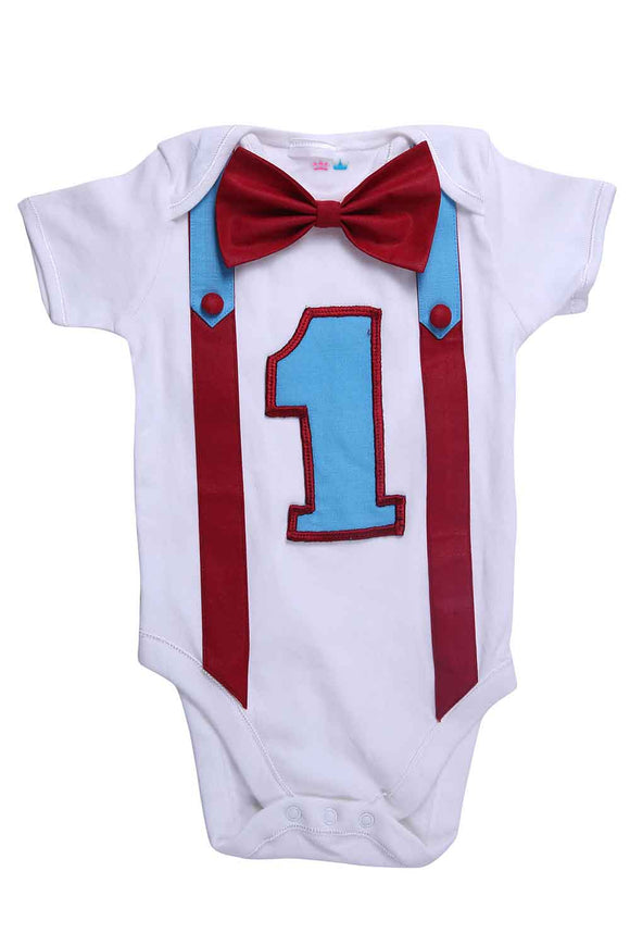 Maroon And Blue First Birthday Bodysuit