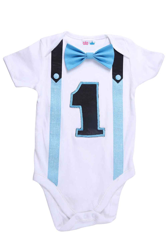 Blue And Black First Birthday Bodysuit