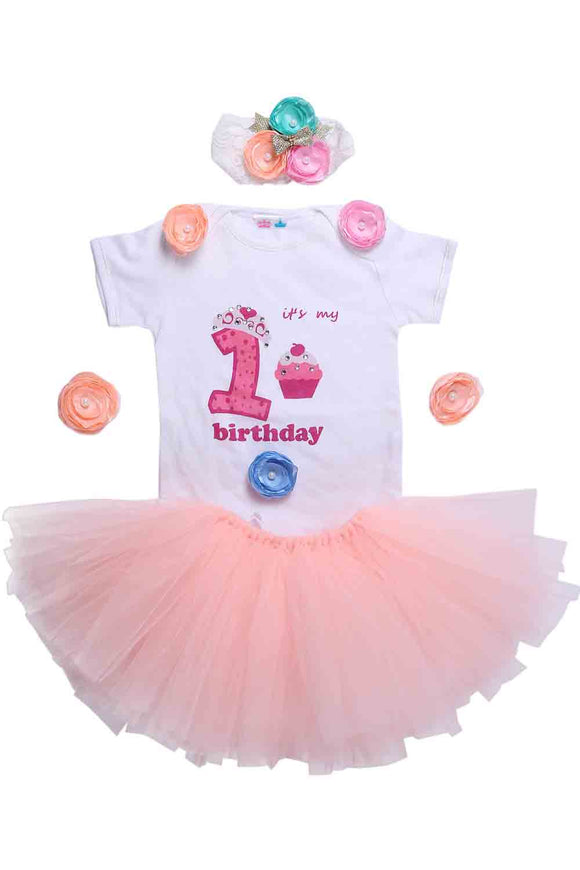 Peach Unicorn First Birthday Tutu Outfit