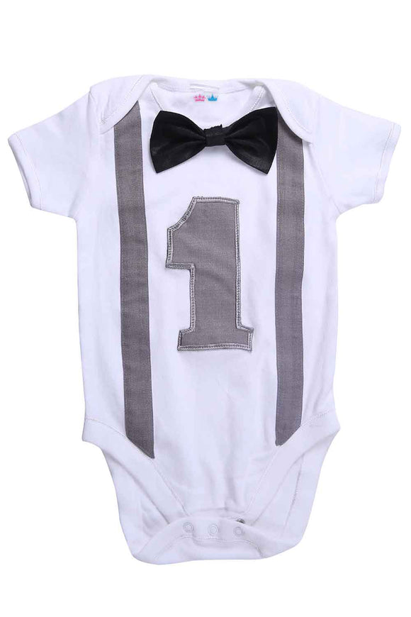 Grey And Black First Birthday Bodysuit