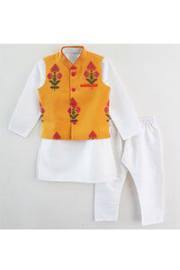Yellow floral print jacket with kurta and pyjama! Stylemylo offers a wide range of Designer Indian wear for Boys, Ethnic wear for boys, Kurta pyjama for boys, Kids kurta pyjama set, Dhoti set for boys, Designer Dhoti Kurta, Online Dhoti Kurta set, Designer Dhoti kurta for boys.