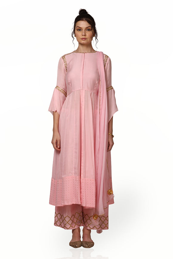 Pink silk suit with dupatta and palazzo