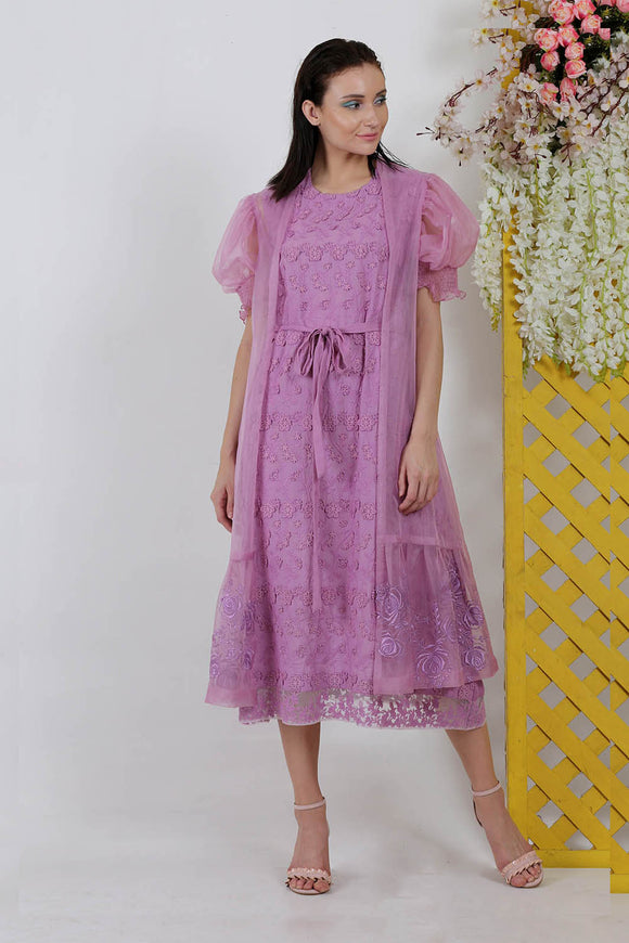 Purple organza 3D flower embroidery dress with  jacket