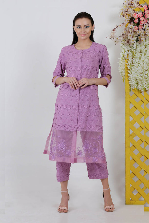 Organza 3D floral cotton purple flower embroidery dress with pants