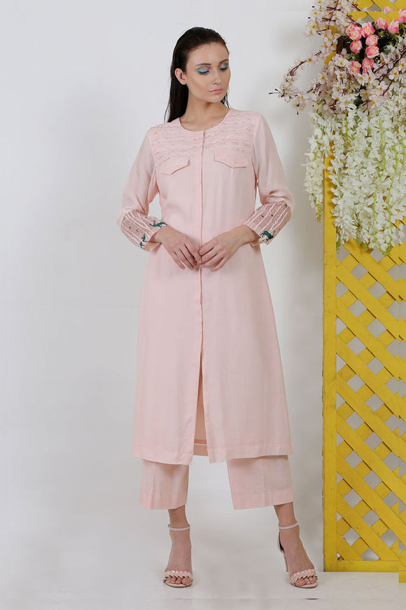 Summer cool organza peach top with pant