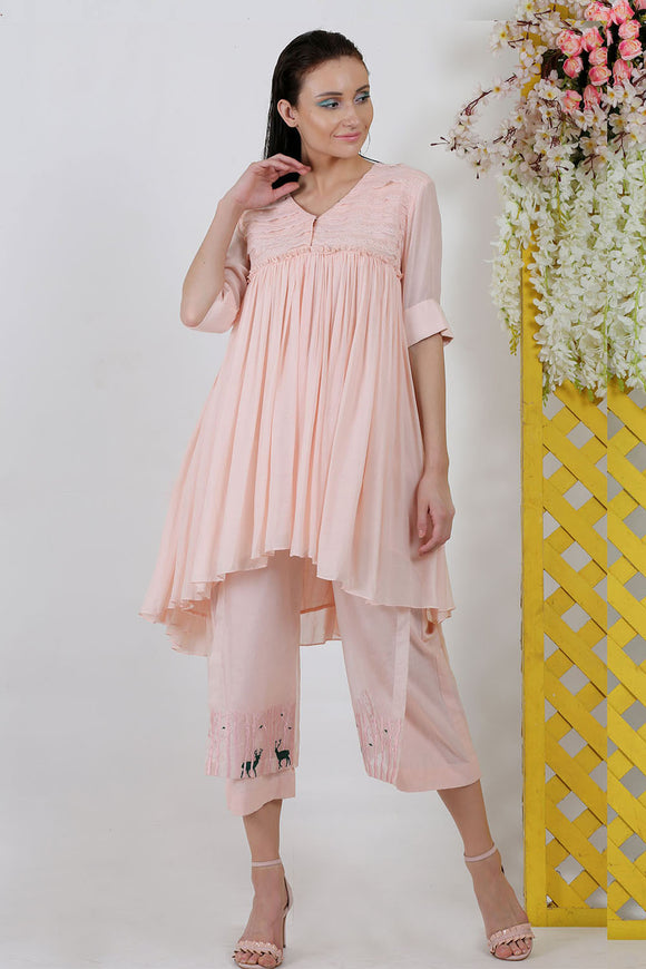 Peach gather top with embroidery pants