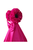 Pink ruffle sleeves gown