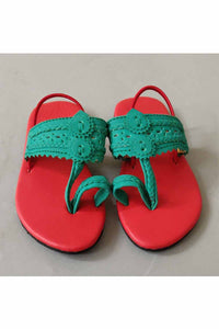 Red and green kolhapuri! Footwear for girls, Flip flop for girls, designer sandals for girls, belly shoes for girls, designer kolhapuri flats