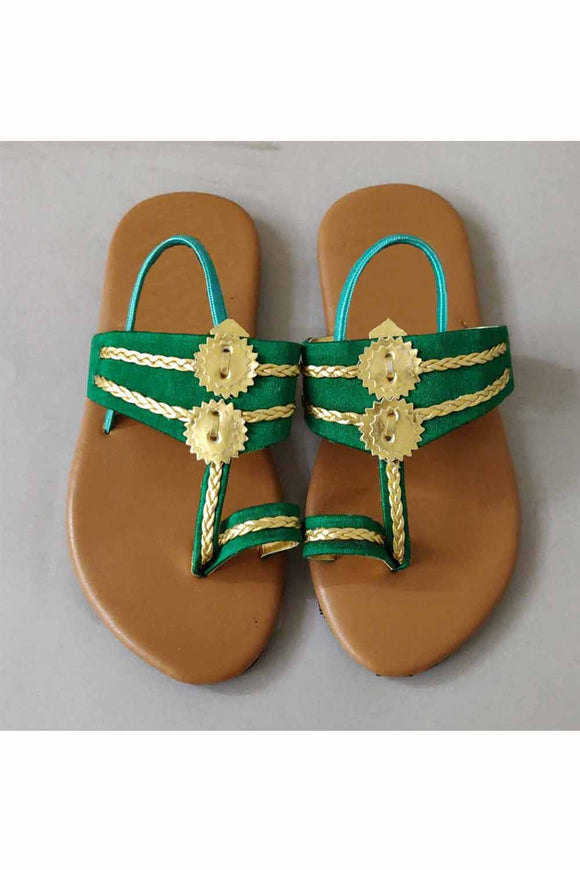 Green kolhapuri! Footwear for girls, Flip flop for girls, designer sandals for girls, belly shoes for girls, designer kolhapuri flats