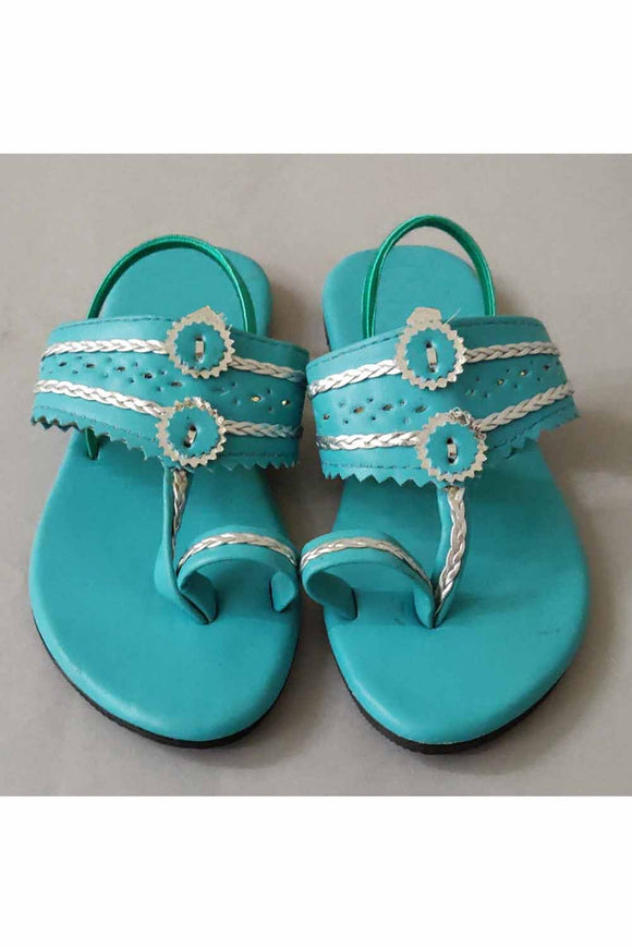 Sea blue kolhapuri! Footwear for girls, Flip flop for girls, designer sandals for girls, belly shoes for girls, designer kolhapuri flats