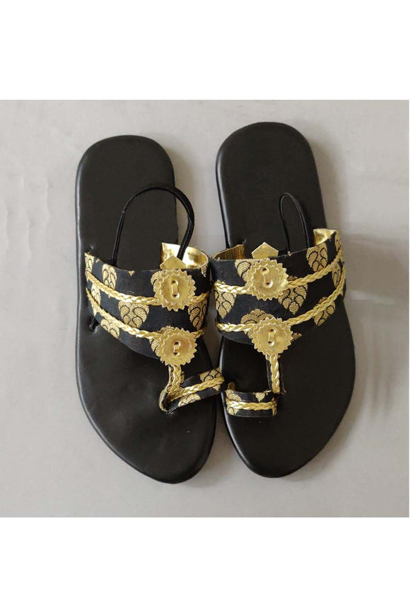 Black brocade kolhapuri! Footwear for girls, Flip flop for girls, designer sandals for girls, belly shoes for girls, designer kolhapuri flats