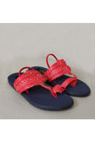 Red and navy blue kolhapuri! Footwear for girls, Flip flop for girls, designer sandals for girls, belly shoes for girls, designer kolhapuri flats