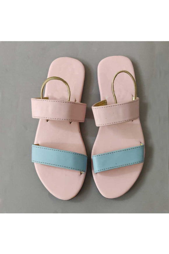 Pink blue double belt flats! Footwear for girls, Flip flop for girls, designer sandals for girls, belly shoes for girls, designer kolhapuri flats