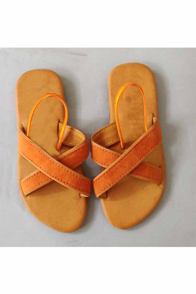 Rust cross belt flats! Footwear for girls, Flip flop for girls, designer sandals for girls, belly shoes for girls, designer kolhapuri flats