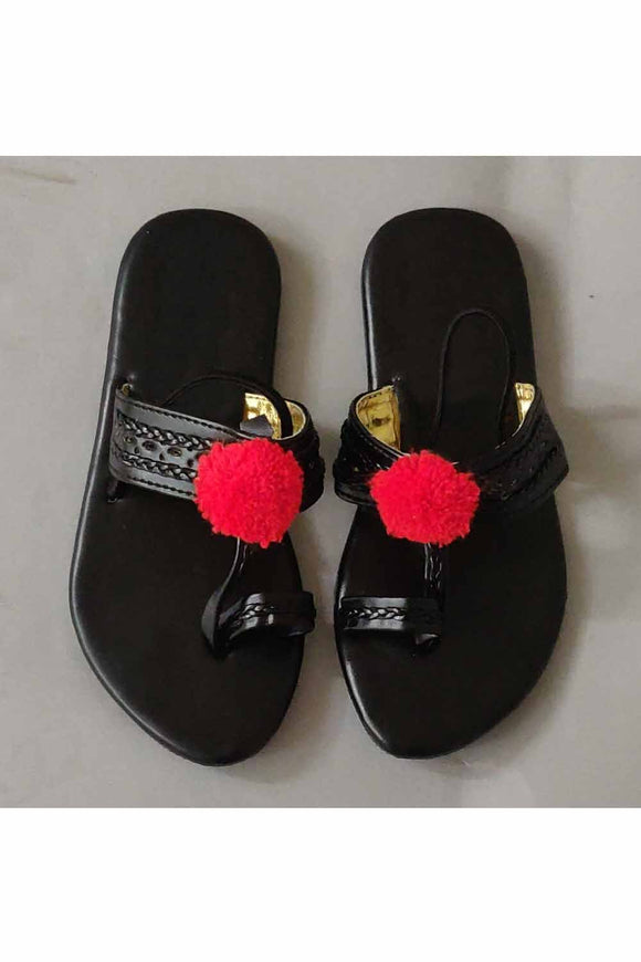 Red pom pom kolhapuri! Footwear for girls, Flip flop for girls, designer sandals for girls, belly shoes for girls, designer kolhapuri flats