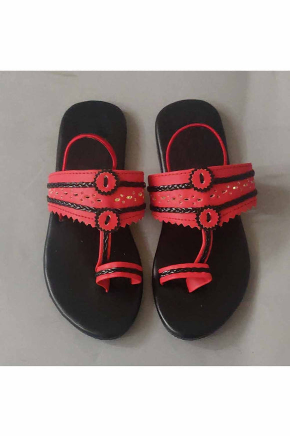 Red and blue kolhapuri! Footwear for girls, Flip flop for girls, designer sandals for girls, belly shoes for girls, designer kolhapuri flats