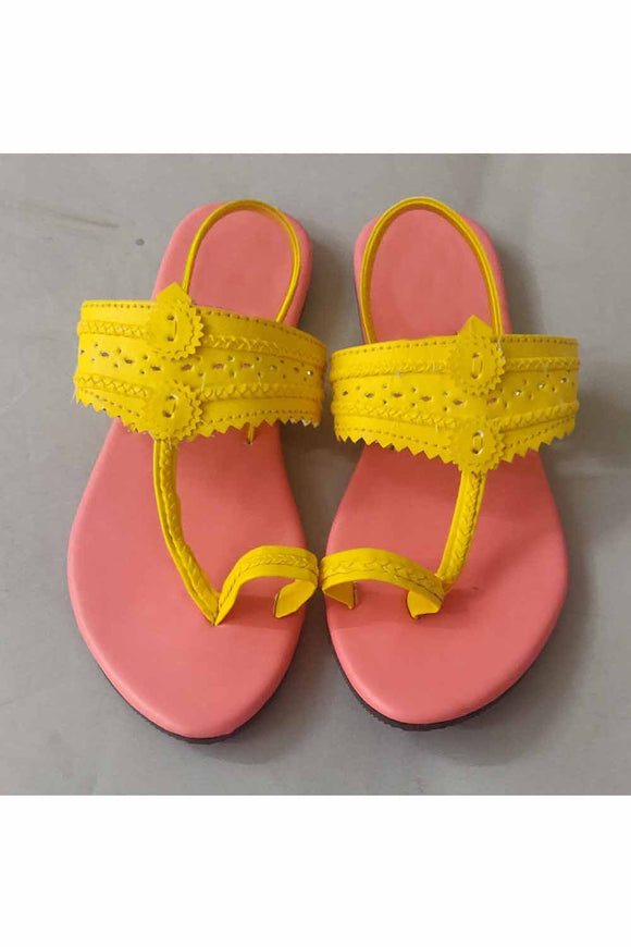 Yellow blush kolhapuri! Footwear for girls, Flip flop for girls, designer sandals for girls, belly shoes for girls, designer kolhapuri flats
