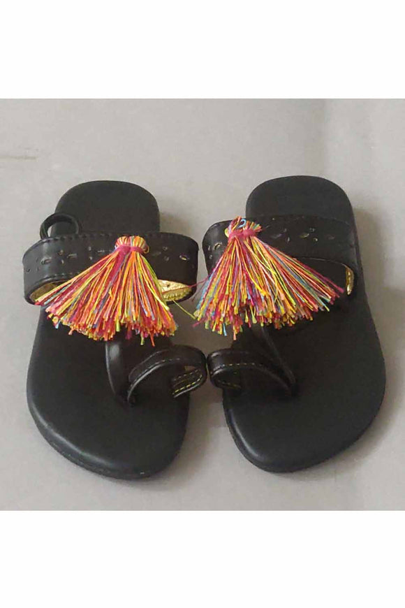 Black tassel flats! Footwear for girls, Flip flop for girls, designer sandals for girls, belly shoes for girls, designer kolhapuri flats