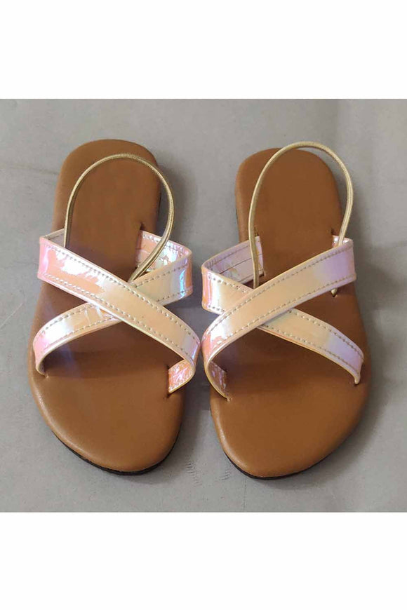 Metallic pink cross belt flats! Footwear for girls, Flip flop for girls, designer sandals for girls, belly shoes for girls, designer kolhapuri flats