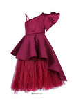 Maroon High Low Peplum Corset With Long Tutu Skirt