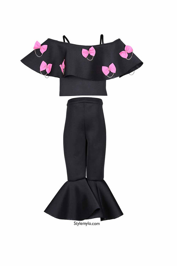 Black Off Shoulder Bow Crop Top With Black Ruffle Pants