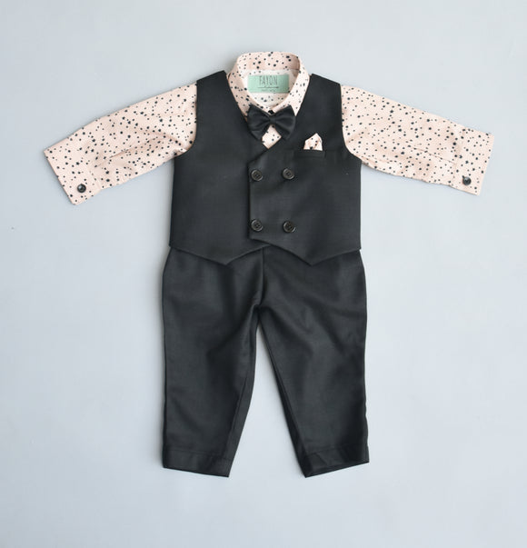 Black waist coat with printed shirt and black pant