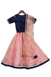 Blue Dupion Silk Choli with Peach Net Foil Print Lehenga