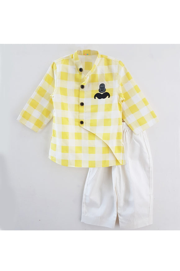 Yellow moustache kurta pyjama set! Stylemylo offers a wide range of Designer Indian wear for Boys, Ethnic wear for boys, Kurta pyjama for boys, Kids kurta pyjama set, Dhoti set for boys, Designer Dhoti Kurta, Online Dhoti Kurta set, Designer Dhoti kurta for boys.