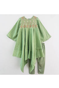 Green embroidered work asymmetric kurti and churidar! Designer Ethnic Wear For Girls, Designer Ethnic Wear For Baby Girl, Latest Ethnic Wear For Girl, Designer Lehenga Wear for Girls, Designer Indian Wear for Girls, Designer Salwar Suit for Baby Girls, Ethnic Wear for Baby Girl, Designer Indo Western Wear for Girls