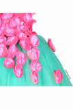 Green And Pink Petals Tutu Gown