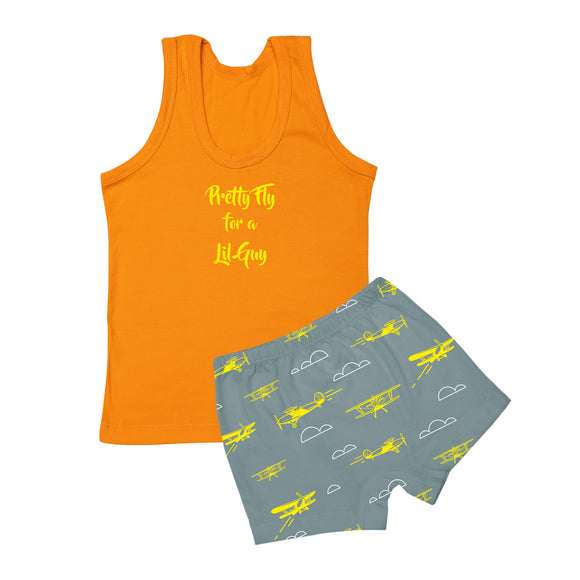 Boys fly high vest and boxer set