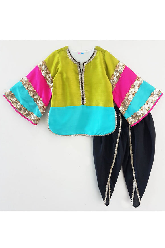 Multi color shaded kurti and black dhoti! Designer Salwar Suit Sets for Baby Girls, Designer Ethnic wear for Girls, Designer Indian wear for Girls, Designer Kurta Dhoti for Baby Girls, Designer Kurta Sharara Sets for Baby Girls, Designer Kurta Garara Sets for Baby Girls, Designer Anarkali Suits for Girls
