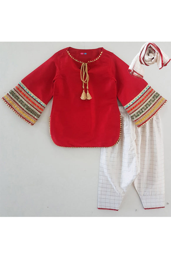 Maroon kurti and white salwar with dupatta! Designer Ethnic Wear For Girls, Designer Ethnic Wear For Baby Girl, Latest Ethnic Wear For Girl, Designer Lehenga Wear for Girls, Designer Indian Wear for Girls, Designer Salwar Suit for Baby Girls, Ethnic Wear for Baby Girl, Designer Indo Western Wear for Girls