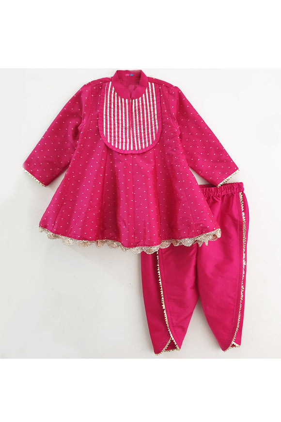 Fuchsia pink kurti and tulip pant! Designer Ethnic Wear For Girls, Designer Ethnic Wear For Baby Girl, Latest Ethnic Wear For Girl, Designer Lehenga Wear for Girls, Designer Indian Wear for Girls, Designer Salwar Suit for Baby Girls, Ethnic Wear for Baby Girl, Designer Indo Western Wear for Girls