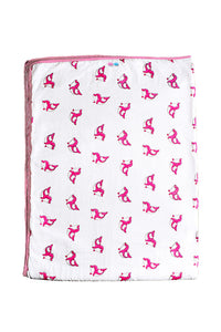 Hand Printed Blanket  in Cute Dolphin print
