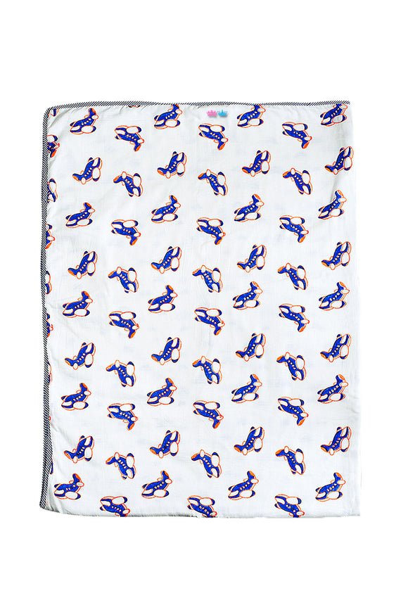 Hand Printed  Blanket in Fast Big Aeroplane Print