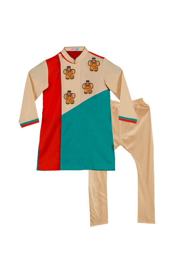 Elephant Embroidered 3 Color Kurta With Churidar