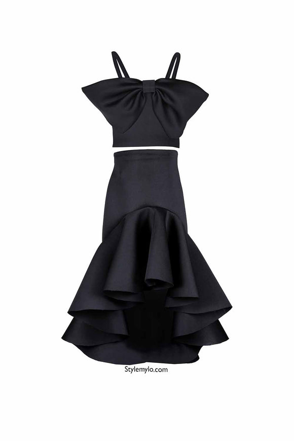 Black Big Bow Crop Top With Black Ruffle Skirt