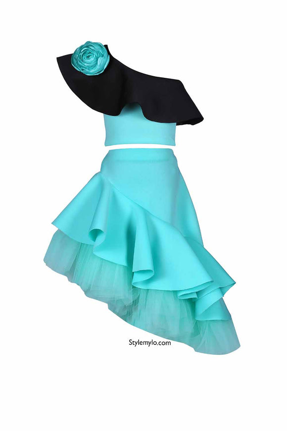 Mint Green Rose Crop Top With Side Ruffle Skirt