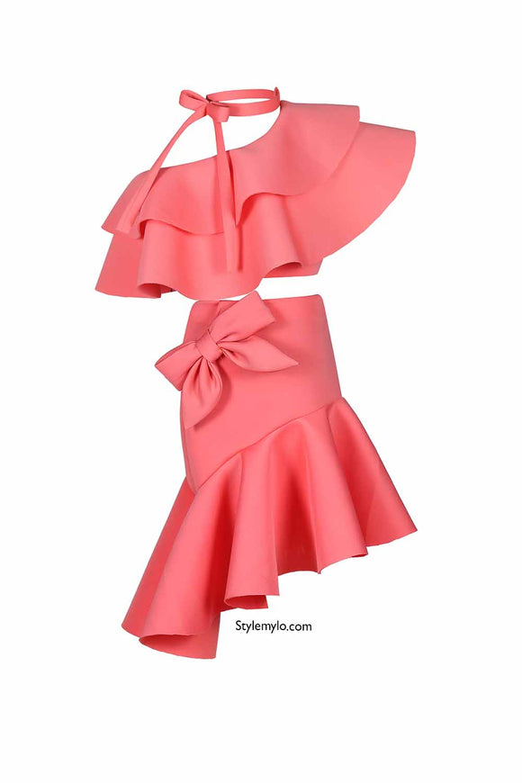 Peach Bow Knot Ruffle Crop Top With Bow Skirt