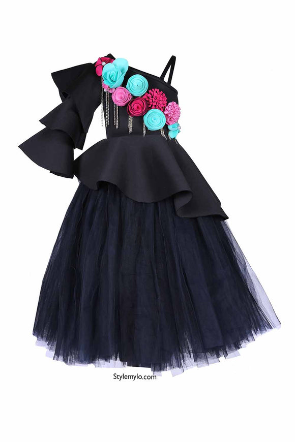 Black Triple Layered Sleeves Floral Peplum Corset With Long Tutu Skirt