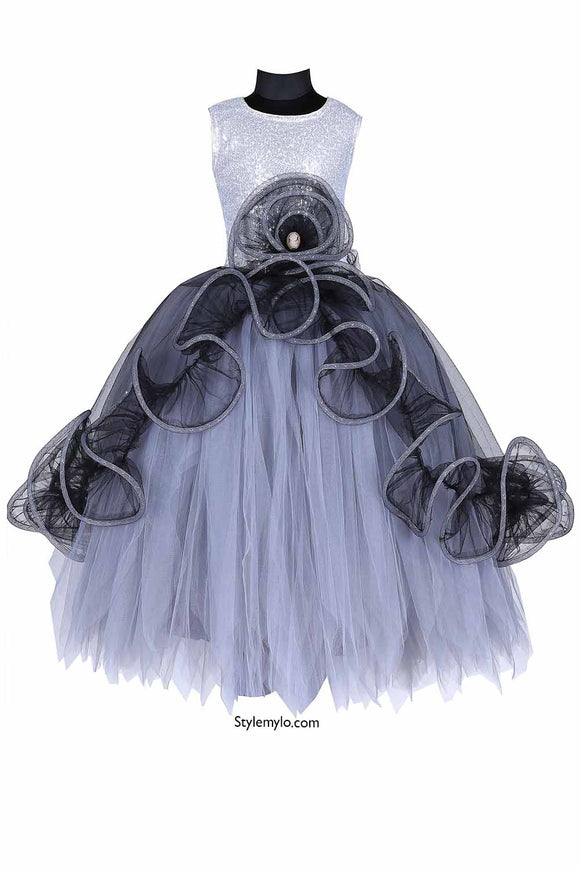 Lady In Grey Tutu Gown