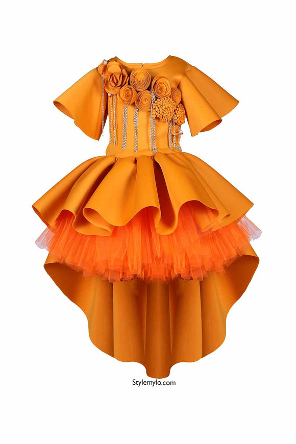 Mustard High Low Dress With Tutu Underskirt