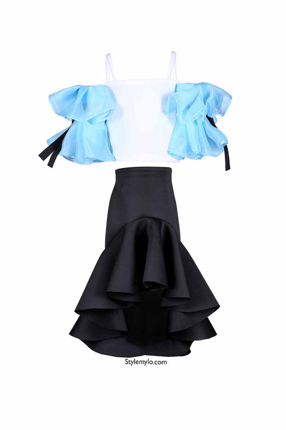 White And Blue Crop Top With Black Ruffle Skirt
