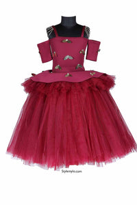 Burgundy Angel Wings Tutu Gown