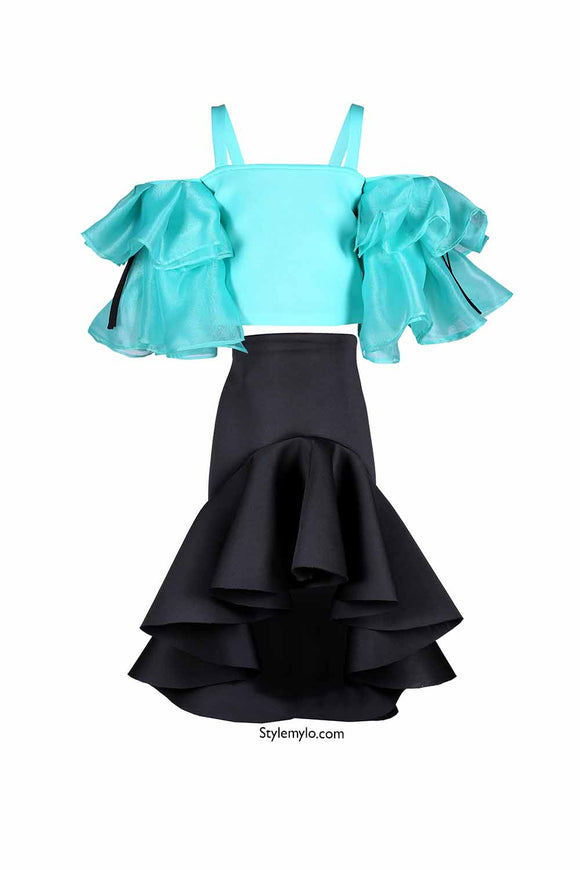 Mint Green Crop Top With Black Ruffle Skirt