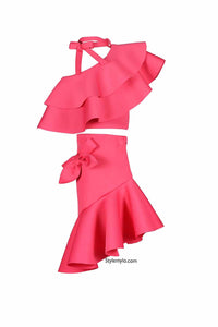 Rose Pink Knot Ruffle Crop Top With Bow Skirt