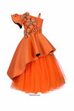 Rust High Low Peplum Corset With Long Tutu Skirt